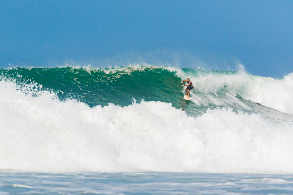 Trip Leader Max H-P on a perfect wave on Playa Santa Teresa
