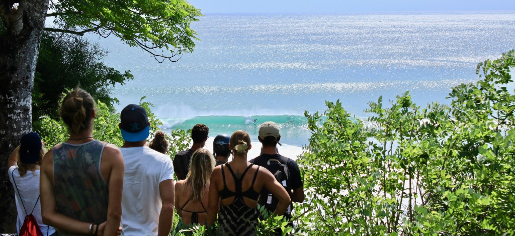 The crew on the latest TTR Indo trip watch the peeling waves of Padang Padang from the cliff tops