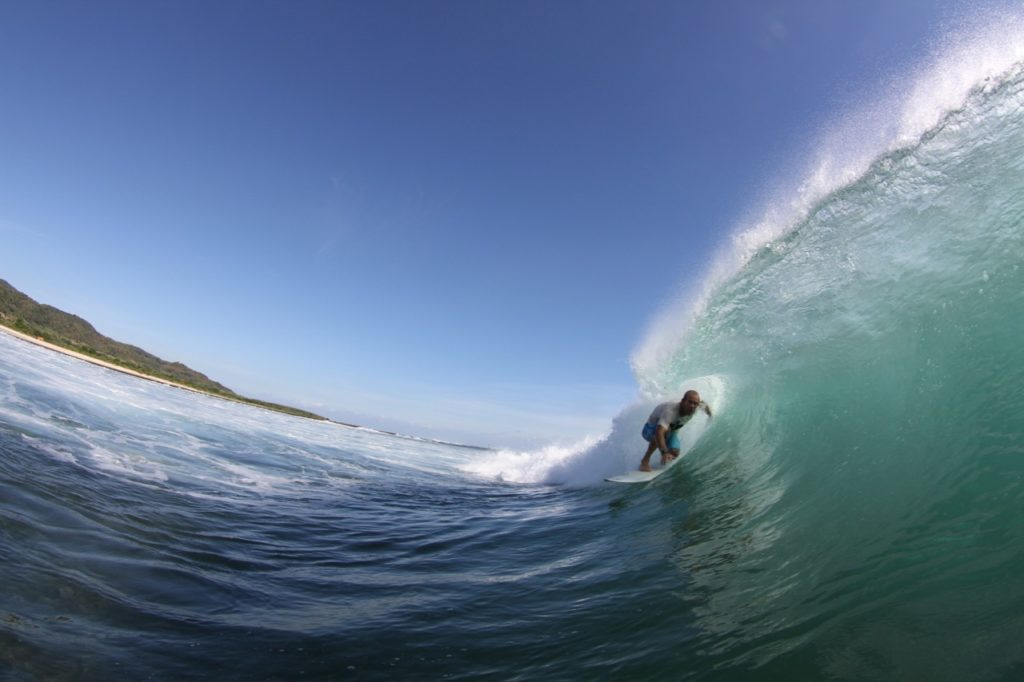 Getting barreled on a left